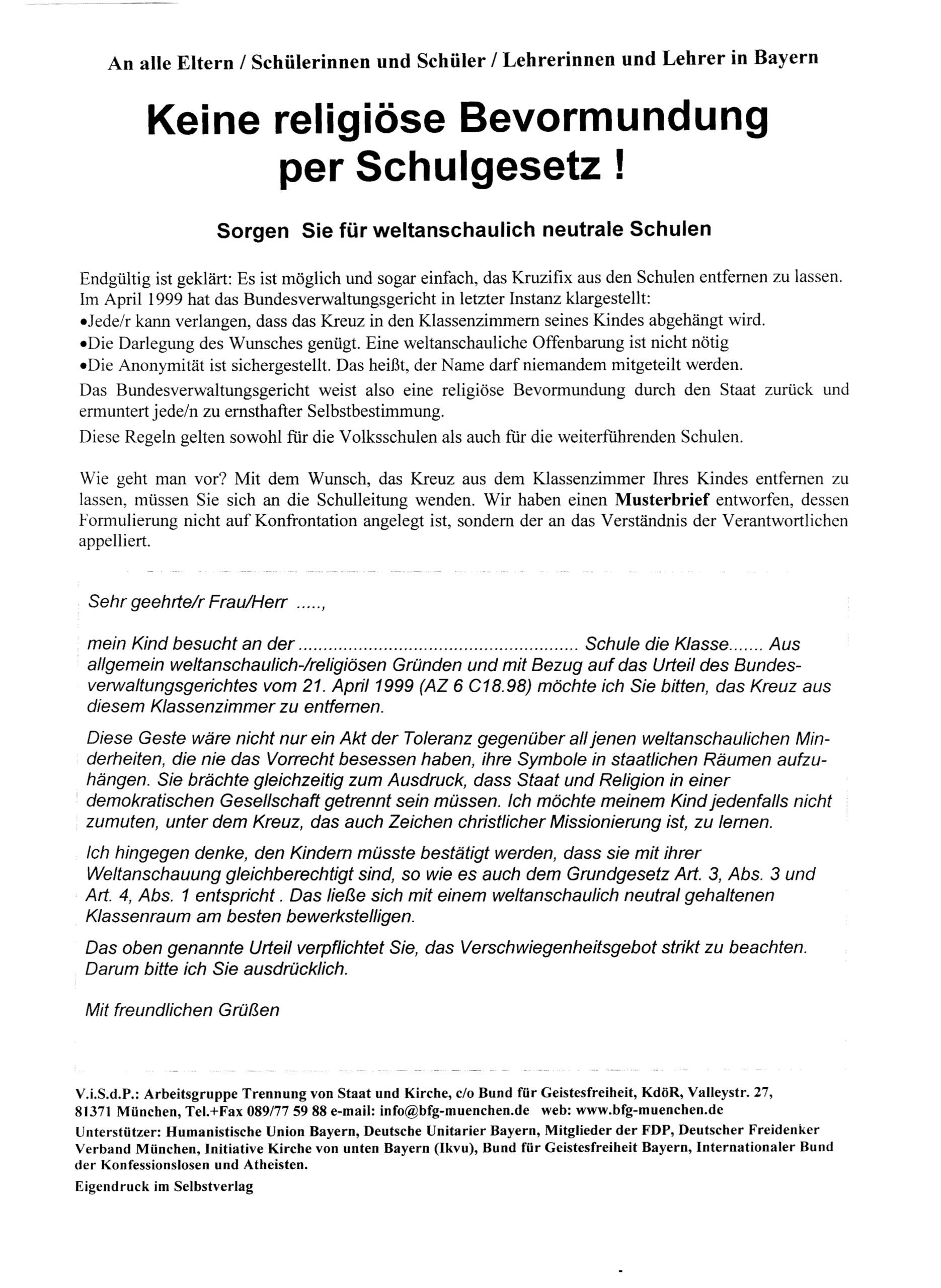 Beitragsbild Keine religiöse Bevormundung per Schulgesetz!
