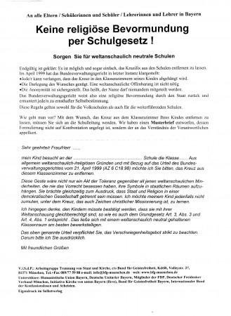 Keine religiöse Bevormundung per Schulgesetz!