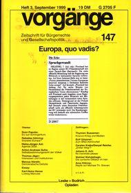 Beitragsbild vorgänge Nr. 147 (Heft 3/1999) Europa, quo vadis?