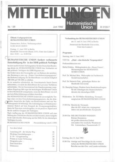 Beitragsbild Mitteilungen Nr. 138 (Heft 2/1992)