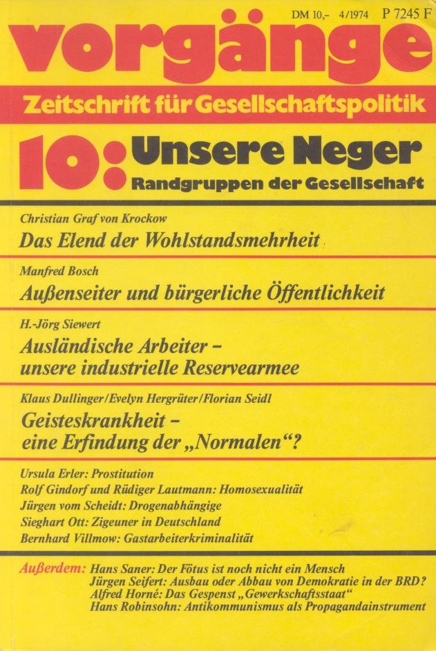 Beitragsbild vorgänge Nr. 10 (Heft 4/1974) Unsere Neger. Randgruppen der Gesellschaft