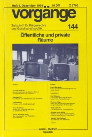 Beitragsbild vorgänge Nr. 144 (Heft 4/1998)