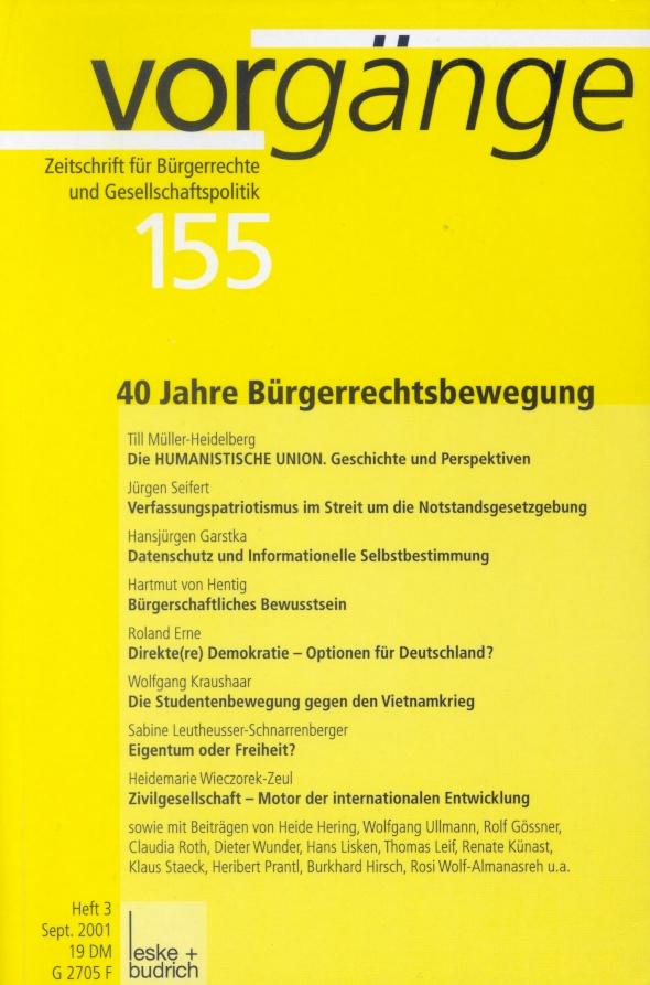 Beitragsbild vorgänge Nr. 155 (Heft 3/2001) 40 Jahre Bürgerrechtsbewegung