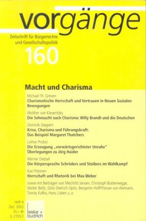 Beitragsbild vorgänge Nr. 160 (Heft 4/2002) Macht und Charisma