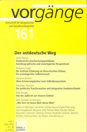 Beitragsbild vorgänge Nr. 161 (Heft 1/2003) Der ostdeutsche Weg