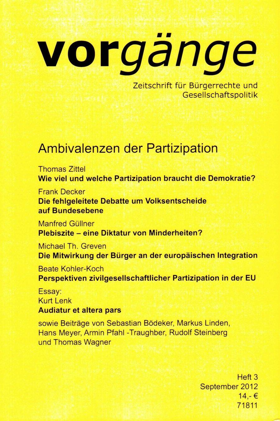 Beitragsbild vorgänge 199: Ambivalenzen der Partizipation