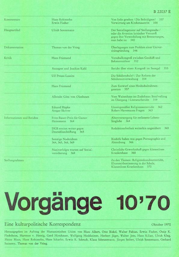 Beitragsbild vorgänge Heft 10/1970