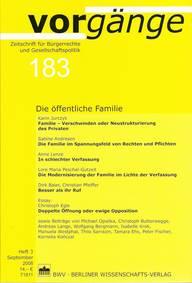 vorgänge Nr. 183: Die öffentliche Familie